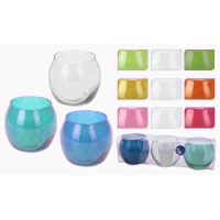 GLASS TEALIGHT HOLDER 8CM SET 3 dd