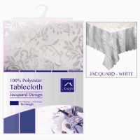POLYESTER 54X72IN RECT TABLECOVER WHITE
