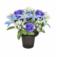 GRAVE POT LILY ROSE BLUE