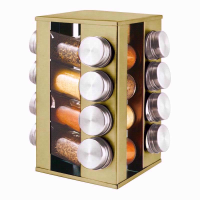 PRO COOK SPICE RACK 16PC GOLD