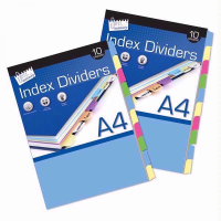 JUST STATIONERY INDEX  DIVIDERS A4 10