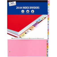 JUST STATIONERY INDEX  DIVIDERS A4 A-Z 20